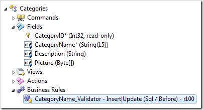 Validator for CategoryName field automatically created in the Project Explorer.