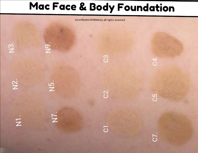 Mac Face & Body Foundation Swatches of Shades