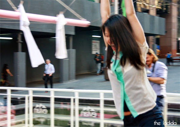 evian Live Young Backyard - Martin Place, Sydney - Giant Pink Hills Hoist (3)