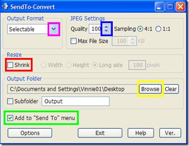 SendTo-Convert impostazioni