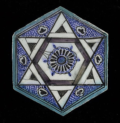 Tile | Origin: Syria or Egypt | Period:  15th century | Collection: The Madina Collection of Islamic Art, gift of Camilla Chandler Frost (M.2002.1.118) | Type: Ceramic; Architectural element, Fritware, underglaze painted, 16 1/4 x 21 in. (41.27 x 53.34 cm)