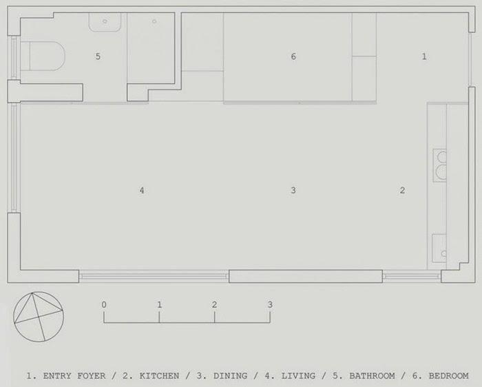 căn hộ diện tích hẹp 27m2