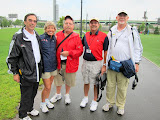 The race walk judges. Gary Westerfield, Maryanne Daniel, Bill Pollinger, Joe Light and Ron Daniel.