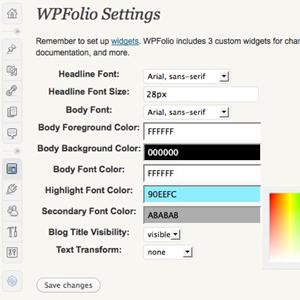wpfolio settings