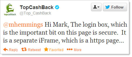 @mhemmings Hi Mark, The login box, which is the important bit on this page is secure.  It is a separate iFrame, which is a https page...