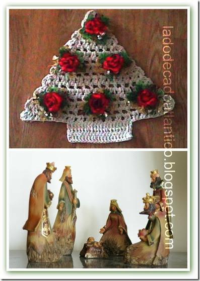 Imagem de árvore de Natal em crochê e de figuras de presépio representando a Natividade
