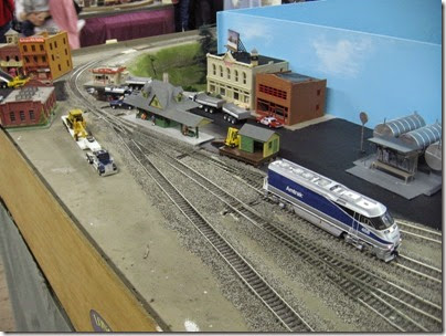 IMG_5364 Amtrak F59PHI #458 in the town on the LK&R HO-Scale Layout at the WGH Show in Portland, OR on February 17, 2007