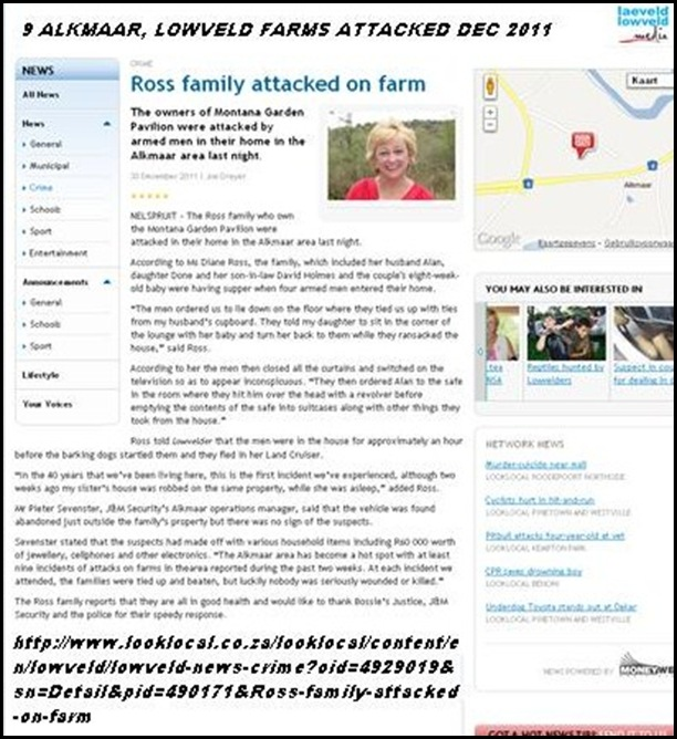 ROSS family under attack Alkmaar Lowveld Dec 29 2011