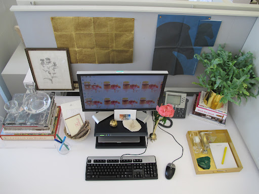 Behind my desk is a sample of a gorgeous metallic wallpaper and the horse silhouette is actually from a catalog I received. I love blue and black together.