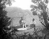 The wife of Dr. R.A.M. Bergman while changing the diaper of her child in the company of the nanny on Gunung Tangkubanprahu (unknown photographer, 1931) Courtesy TropenMuseum Archives