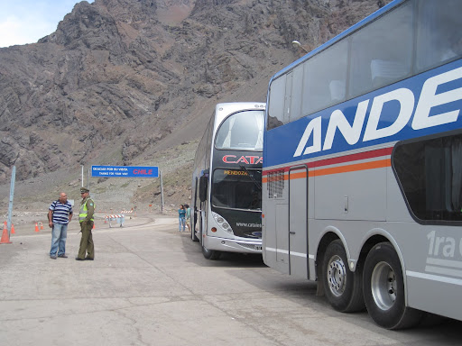 Buses waiting to be inspected at the Argentina-Chile border.