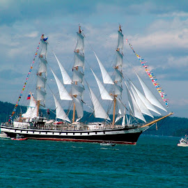 Pallada by Pete Bobb - Transportation Boats ( puget sound, tall ships, pallada, sail, russian navy, commencement bay )