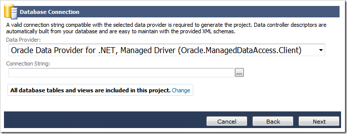 Selecting the 'Oracle Data Provider for .NET, Managed Driver' for the Data provider dropdown on the Database Connection screen.