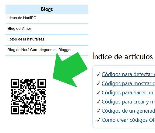 Códigos QR en las páginas de NorfiPC