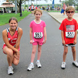 The 1K Race Walkers: Valia Vaitones, Lily Fishman and Alec Beaudin.