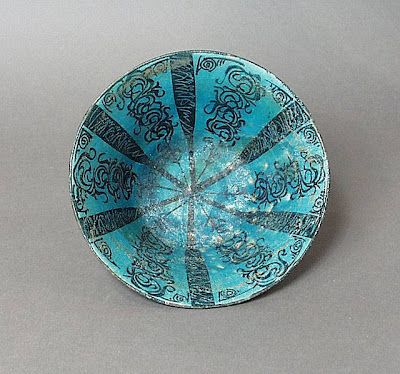 Bowl Iran, Kashan Bowl, early 13th century Ceramic; Vessel, Fritware, underglaze painted, 3 7/8 x 7 3/4 in. (9.84 x 19.69 cm) The Nasli M. Heeramaneck Collection, gift of Joan Palevsky (M.73.5.254) Art of the Middle East: Islamic Department.
