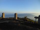 The cement posts on Gunung Kaba crater rim, Gunung Pasu in the distance (Dan Quinn, August 2013)