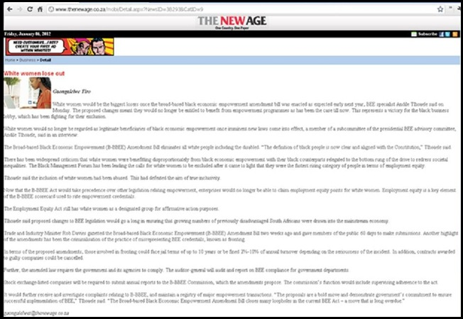 ALL WHITES NOW BARRED FROM JOB MARKET IN SOUTH AFRICA ANC NEWSPAPER JAN 6 2011