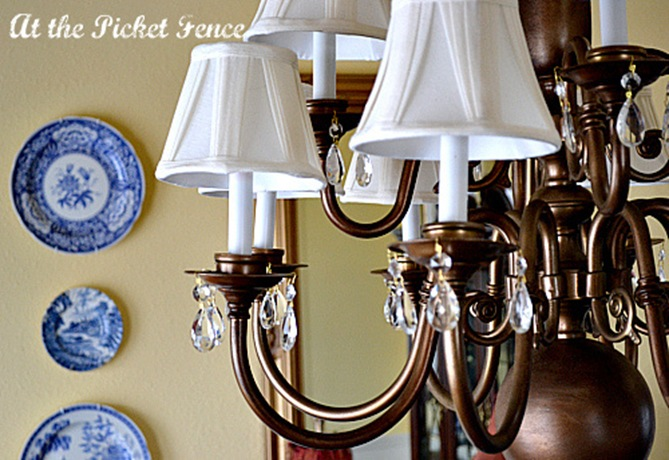 Brass chandeliers makeover at the picket fence 050 1 aloadofball Image collections