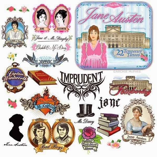 Jane Austen Tattoos from Archie McPhee
