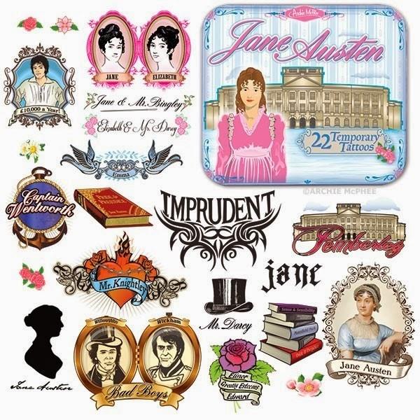 Jane Austen Tattoos from Archie McPhee