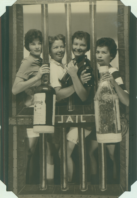 "Carolyn Weathers, Dottie Frank, Brenda Weathers and Anita Ornales at ""jail"" in Playland Park. ""Sharon Roberson was killed the following night. May 21, 1962."""