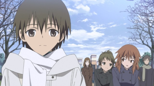 Inoue walks to school one winter's morning as two girls gossip behind him