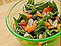 Spinach Salad with Clementines, Radishes, Pecans, Onions, Raisins, Goat Cheese & Poppy Seed Vinaigrette