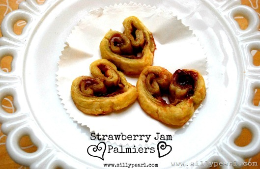 Strawberry Jam Heart Palmiers on Multiples in the Kitchen