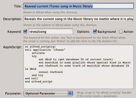 Alfred Extension Reveal current itunes Song in musik library 1