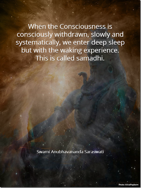 When the consciousness is consciously withdrawn, slowly and systematically, we enter deep sleep but with the waking experience. This is called samadhi. [Swami Anubhavananda Saraswati]