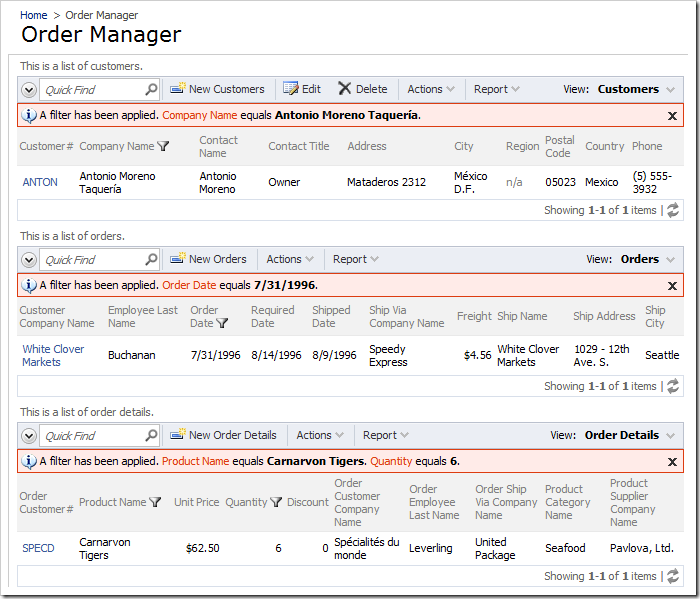 Order Manager page with three unconnected data views. Filters have been applied to reduce the size of the image.
