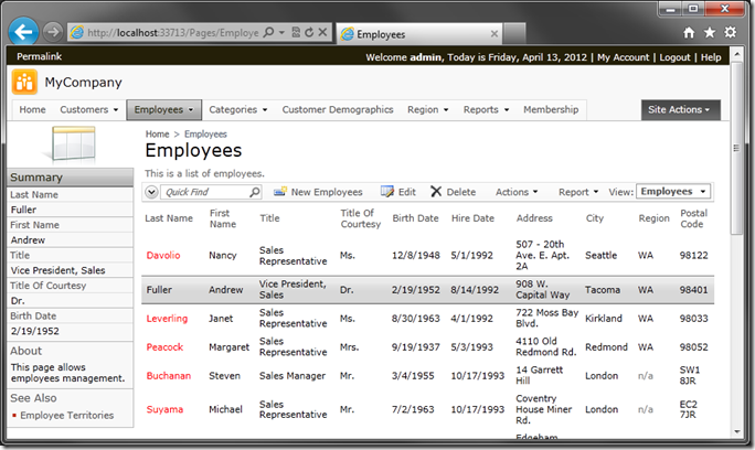 Selected employee record in Code On Time web application