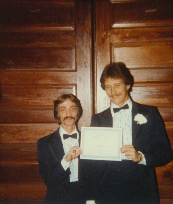 Gay marriage possibly conducted by Edgar Sandifer. February 1983.