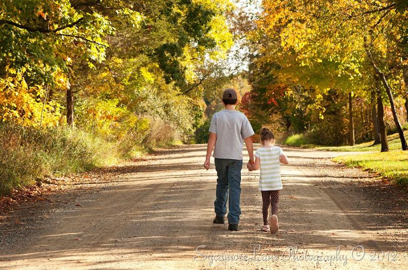kids- walking down road