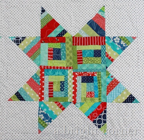 scrappy string star block