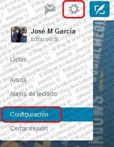 Ver usuarios silenciados en Twitter - opción configuración