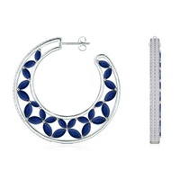 Marquise Sapphire and Round Diamond Butterfly Hoop Earrings