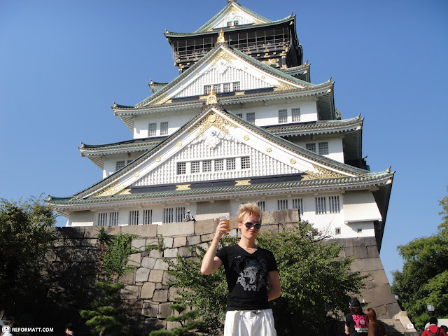drinking Austrian beer in front of Osaka Castle in Osaka, Osaka, Japan