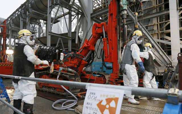Pipe dream: Japan's TEPCO has wasted hundreds of millions of dollars on failed Fukushima disaster mitigation measures, like this 2014 plan to build an 'ice wall' around the plant. Photo: Kimimasa Mayama / AFP / Getty Images