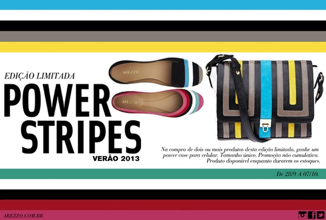 sapatos bolsas Arezzo power strippes
