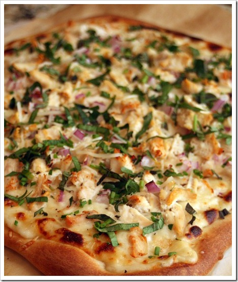 Chicken and Herb White Pizza - A cheesy garlicky sauce topped with chicken and fresh herbs!
