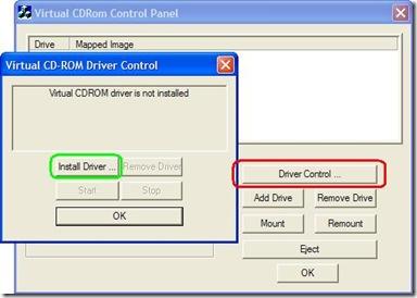 Configurare Virtual CD-ROM Control Panel