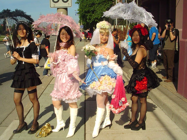 asian girls in lolita fashion at anime north in Toronto, Ontario, Canada