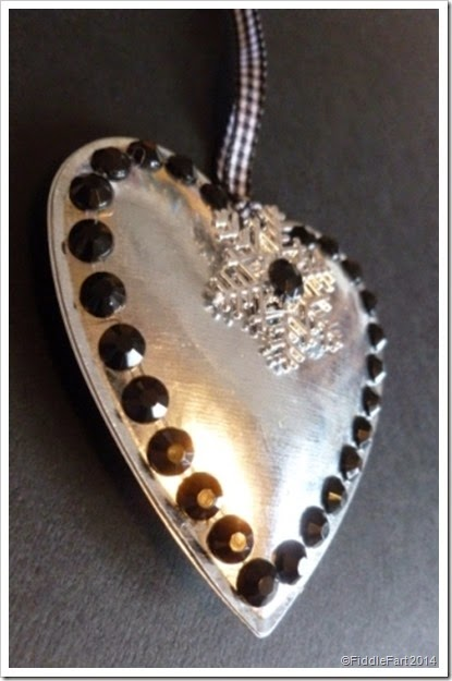 snowflake heart decoration. Poundland self adhesive gems.