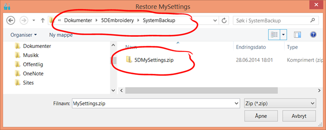 The result is a zipped file in 5D's SystemBackup folder.