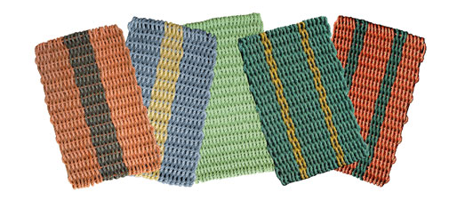 These bright mats are made from rope used in lobster fishing.  (mainefloatrope.com)