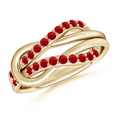 Ruby Encrusted Infinity Knot Ring