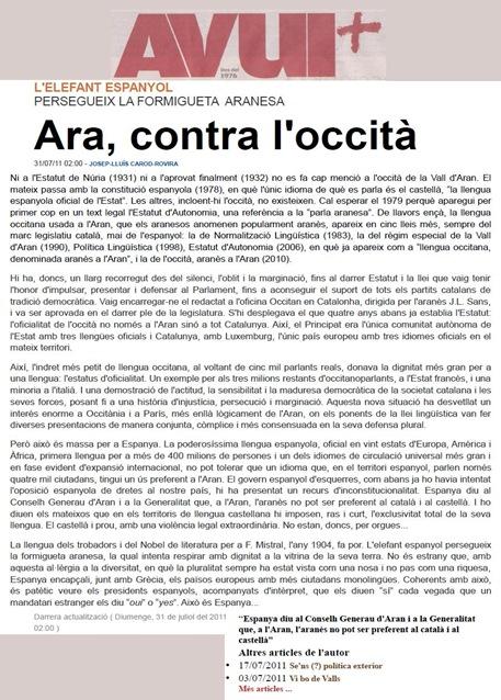 La Formigueta Aranesa Carod-Robira AVUI 310711