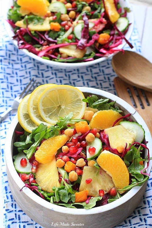 Arugula Salad with Red Cabbage, Pomegranate, Orange and Pineapples by - @LifeMadeSweeter.jpg